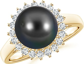 Angara Tahitian Cultured Pearl Ring with Floral Halo