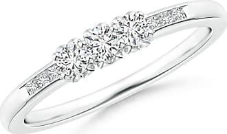 Angara Three Stone Round Diamond Engagement Ring with Heart-Motifs