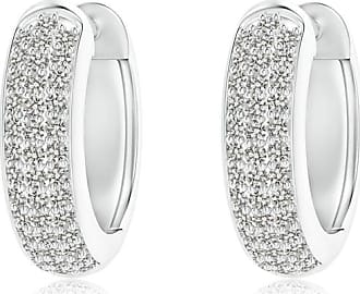 Angara Triple-Row Diamond Studded Huggie Hoop Earrings in White Gold