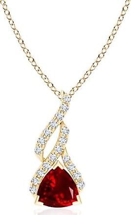 Angara V-Prong Trillion Ruby and Diamond Triple Flame Pendant for Women