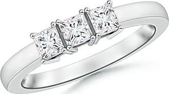 Angara Airline Set Three Stone Princess Moissanite Ring