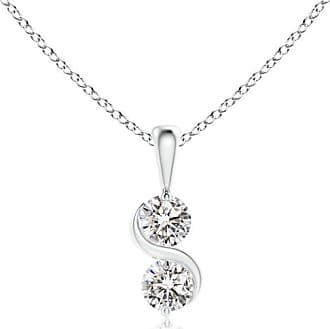 Angara Two Stone Diamond Swirl Pendant