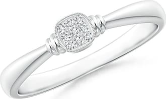 Angara Double Streak Diamond Cushion Cluster Promise Ring