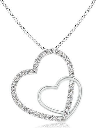 Angara Entwined Diamond Double Tilted Heart Pendant