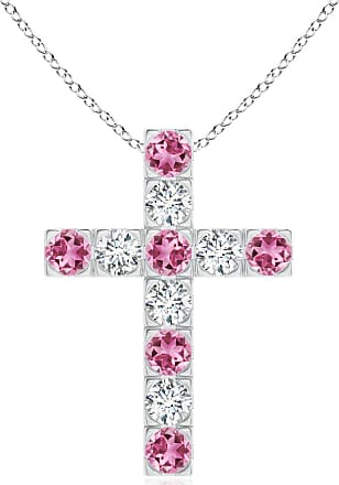 Angara Flat Prong-Set Pink Tourmaline and Diamond Cross Pendant in Rose Gold