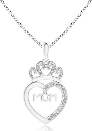 Angara Diamond Studded Crown MOM Heart Pendant