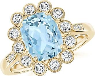 Angara Vintage Diamond Dotted Frame Aquamarine Ring in White Gold