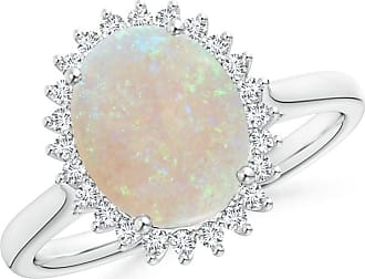 Angara Vintage Diamond Floral Halo Cabochon Opal Cocktail Ring