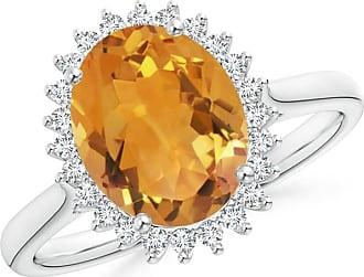 Angara Vintage Diamond Floral Halo Oval Citrine Cocktail Ring in Platinum