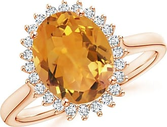 Angara Vintage Diamond Floral Halo Oval Citrine Cocktail Ring in White Gold