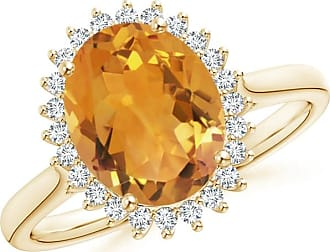 Angara Citrine Cocktail Ring with Diamond Floral Halo