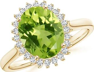 Angara Vintage Diamond Floral Halo Oval Peridot Cocktail Ring