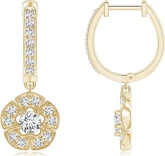 Angara Brown Diamond Hoop Earrings in Rose Gold - Angaras Coffee Diamond