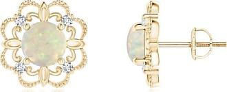 Angara 5mm Opal Diamond Flower Earrings in White Gold