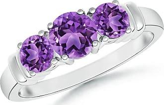 Angara Vintage Style Three Stone Garnet Wedding Ring