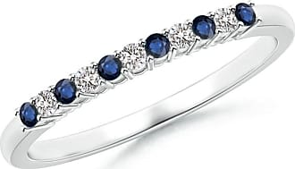 Angara Fluted Pattern Sapphire Half Eternity Wedding Band in Yellow Gold