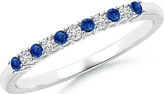 Angara Fluted Pattern Sapphire Half Eternity Wedding Band in White Gold