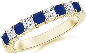 Angara Fluted Pattern Sapphire Half Eternity Wedding Band in Platinum
