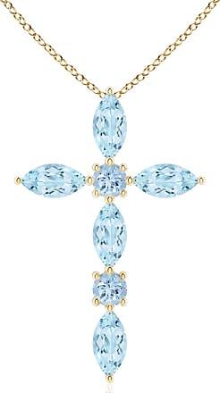 Angara Marquise Aquamarine Cross Pendant for Women in Yellow Gold