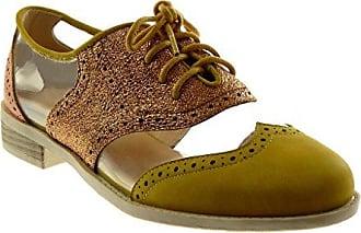Angkorly Damen Schuhe Derby-Schuh - Schnürsenkel Aus Satin - Kette Blockabsatz 2.5 cm - Rosa F2310 T 39