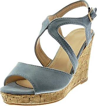Angkorly Damen Schuhe Mule Sandalen - Peep-Toe - Plateauschuhe - Knöchelriemen - Seil - Geflochten - Kork Keilabsatz High Heel 10.5 cm - Schwarz W20-7 T 38