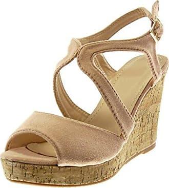 Angkorly Damen Schuhe Mule Sandalen - Peep-Toe - Plateauschuhe - knöchelriemen - Seil - Geflochten - Kork Keilabsatz High Heel 10.5 cm - Schwarz W20-7 T 36