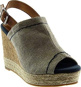 Angkorly Damen Schuhe Mule Sandalen - Peep-Toe - Plateauschuhe - knöchelriemen - Seil - Geflochten - Kork Keilabsatz High Heel 10.5 cm - Dunkelblau W20-7 T 37