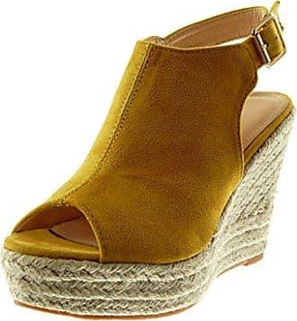 Angkorly Damen Schuhe Mule Sandalen - Plateauschuhe - Peep-Toe - Knöchelriemen - Seil - Geflochten Keilabsatz High Heel 11 cm - Senffarbe L2667 T 40