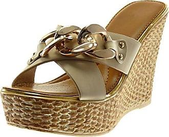 Angkorly Damen Schuhe Mule Sandalen - Plateauschuhe - Slip-On - Gekreuzte Riemen - Glitzer - Seil Keilabsatz High Heel 2.5 cm - Schwarz Gold YS-26 T 40