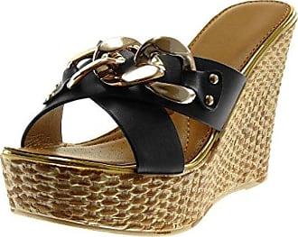 Angkorly Damen Schuhe Mule Sandalen - Plateauschuhe - Slip-on - Gekreuzte Riemen - Glitzer - Seil Keilabsatz High Heel 2.5 cm - Gold YS-26 T 37