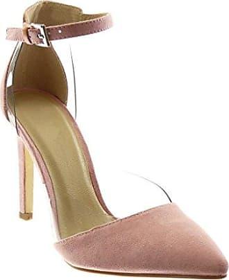 Angkorly Damen Schuhe Pumpe - Slip-on - Dekollete - Stiletto - Transparent Stiletto High Heel 10.5 cm - Rosa JM-80 T 39