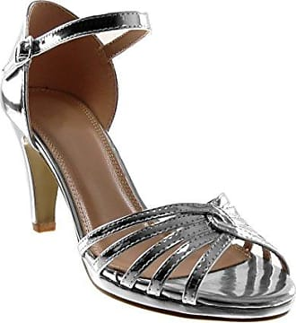 Angkorly Damen Schuhe Pumpe Sandalen - Stiletto - knöchelriemen - Patent - Multi-Zaum Stiletto High Heel 8.5 cm - Champagner W65 T 38