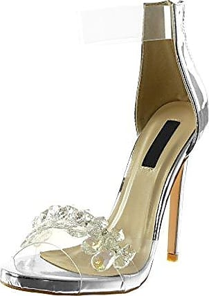 Angkorly Damen Schuhe Sandalen Pumpe - T-Spange - Stiletto - Sexy - Transparent Stiletto High Heel 11.5 cm - Schwarz 238-5 T 37