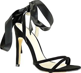 Angkorly Damen Schuhe Pumpe Sandalen - Stiletto - Sexy - Schick - Schnürsenkel Aus Satin - Knoten Stiletto High Heel 11 cm - Schwarz JM-96 T 38