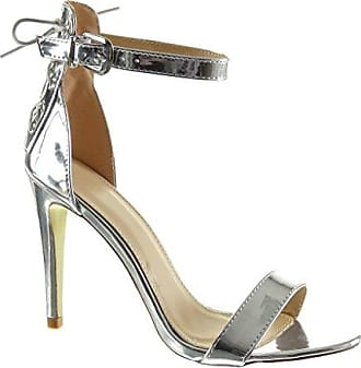 Angkorly Damen Schuhe Sandalen Pumpe - Stiletto - Sexy - Schick - String Tanga - Glänzende Stiletto High Heel 12.5 cm - Silber JM-77 T 40