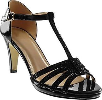 Angkorly Damen Schuhe Pumpe Sandalen - T-Spange - Stiletto - Peep-Toe - glänzende - Spitze Stiletto High Heel 8.5 cm - Champagner W60 T 40