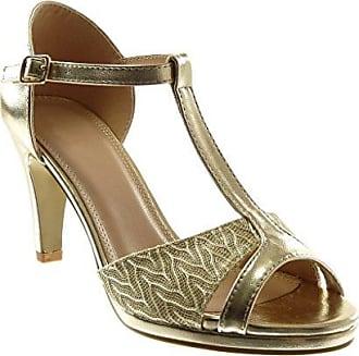 Angkorly Damen Schuhe Pumpe Sandalen - T-Spange - Stiletto - Peep-Toe - glänzende - Spitze Stiletto High Heel 8.5 cm - Weiß W60 T 37