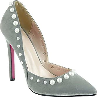 Angkorly Damen Schuhe Pumpe - Stiletto - Dekollete - Sexy - Perle - Schmuck Stiletto High Heel 12 cm - Grau 988-69 T 40