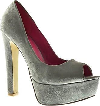 Angkorly Damen Schuhe Pumpe - Stiletto - Plateauschuhe - Dekollete Blockabsatz High Heel 13.5 cm - Grau 036 T 38