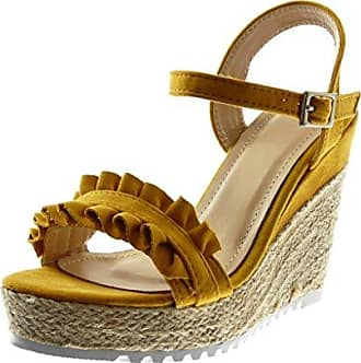Angkorly Damen Schuhe Sandalen - T-Spange - Strass - Geflochten - Fantasy Keilabsatz High Heel 4.5 cm - Schwarz WH872 T 37