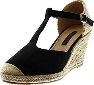 Angkorly - damen Schuhe Sandalen Espadrilles - Offen - bestickt - Seil - glänzende Keilabsatz high heel 9.5 CM - Schwarz 98-1 T 39