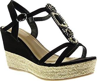 Angkorly Damen Schuhe Sandalen - T-Spange - Strass - Geflochten - Fantasy Keilabsatz High Heel 4.5 cm - Champagner WH872 T 38