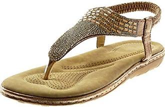 Angkorly Damen Schuhe Sandalen Flip-Flops - Slip-On - T-Spange - Strass Keilabsatz 2.5 cm - Silber S11 T 40