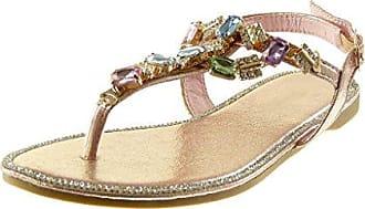 Angkorly Damen Schuhe Sandalen Flip-Flops - T-Spange - Schmuck - Glänzende - Glitzer Blockabsatz 1.5 cm - Champagner RS157 T 40
