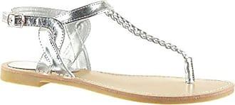 Angkorly Damen Schuhe Sandalen Flip-Flops - T-Spange - String Tanga - Geflochten - Bestickt Blockabsatz 1.5 cm - Gold 6699-1 T 36