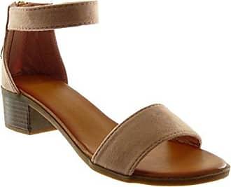 Angkorly Damen Schuhe Sandalen - knöchelriemen - Bommel - Fransen - String Tanga Blockabsatz High Heel 4 cm - Beige 660-1 T 38