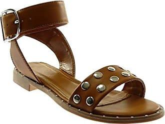 Angkorly Damen Schuhe Sandalen - Knöchelriemen - Nieten - Besetzt - Metallisch - String Tanga Blockabsatz 2 cm - Schwarz 88-230 T 37