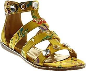 Angkorly Damen Schuhe Sandalen - Knöchelriemen - Römersandalen - Schmuck - Blumen - Bestickt Flache Ferse 1.5 cm - Silber WD1756 T 37
