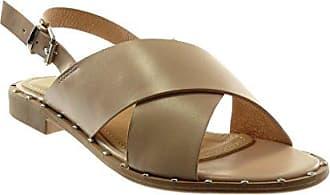 Angkorly Damen Schuhe Sandalen - Knöchelriemen - String Tanga - Nieten - Besetzt Blockabsatz 2 cm - Beige 88-257 T 38