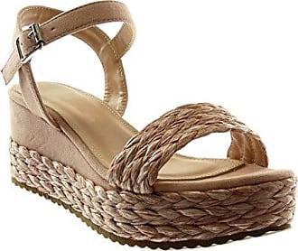 Angkorly Damen Schuhe Sandalen - T-Spange - Strass - Geflochten - Fantasy Keilabsatz High Heel 4.5 cm - Schwarz WH872 T 38